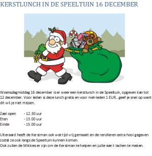 Kerstlunch SVP woensdag 16 december